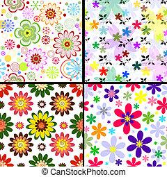 set, vivido, (vector), seamless, modelli, floreale