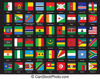 set, vlaggen, afrikaan, iconen