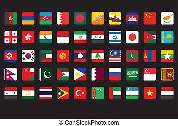 set, vlaggen, aziaat, iconen