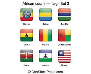 set, vlaggen, drie, afrikaan, landen