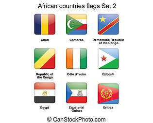 set, vlaggen, twee, afrikaan, landen