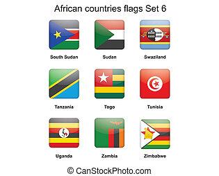 set, vlaggen, zes, afrikaan, landen