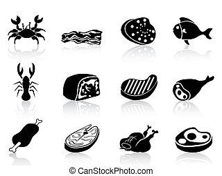 set, vlees, iconen