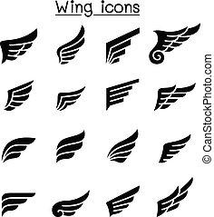 set, vleugel, pictogram