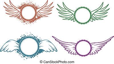 set, vleugels, etiket
