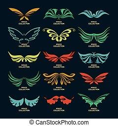 (set, vleugels, verzameling, wings)