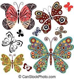 set, vlinder, abstract