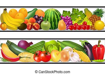 set, voedingsmiddelen, groentes, en, vruchten, schilderij, vector, vochtig
