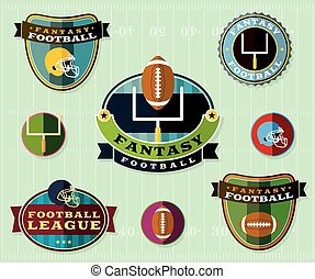 set, voetbal, amerikaan, illustratie, fantasie, emblems