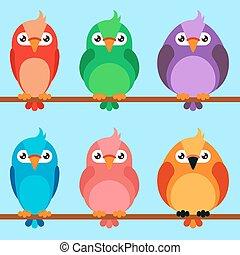 set, vogels, spotprent, iconen
