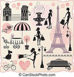 set, voor, mode, of, detailhandel, ontwerp, -, effel, toren, huisen, hart, met, calligraphic, tekst, ik, liefde, shoppen , meiden, silhouettes, met, het winkelen zakken