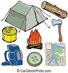 set, voorwerpen, kamp