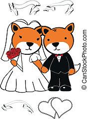 set, vos, spotprent, trouwfeest