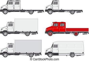 set, vrachtwagens