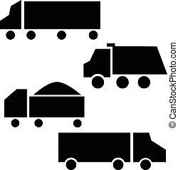set., vrachtwagens, iconen