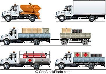 set, vrachtwagens, vrijstaand, vector, mal, witte , specificatie