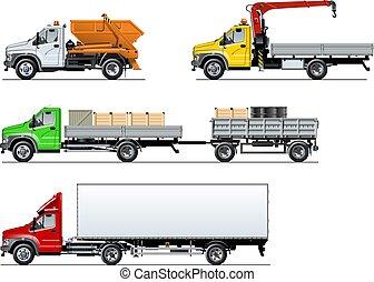 set, vrachtwagens, vrijstaand, vector, witte , specificatie