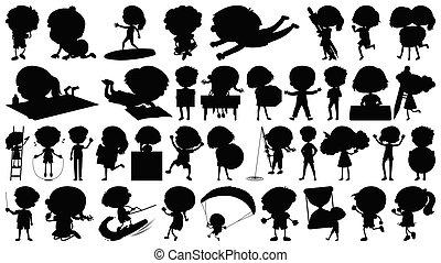 set, -, vrijstaand, acties, thema, voorwerpen, sihouette, kinderen