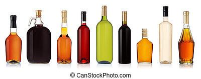 set, vrijstaand, bottles., brandewijn, achtergrond, witte ...