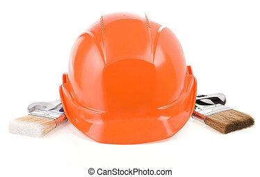 set, vrijstaand, bouwsector, achtergrond, witte , gereedschap