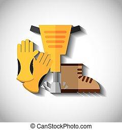 set, vrijstaand, bouwsector, ontwerp, gereedschap, pictogram