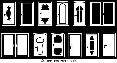 set, vrijstaand, deuren