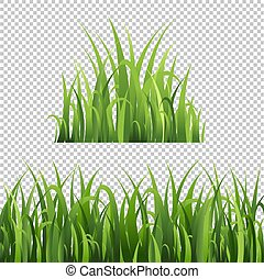 set, vrijstaand, groene achtergrond, gras, transparant