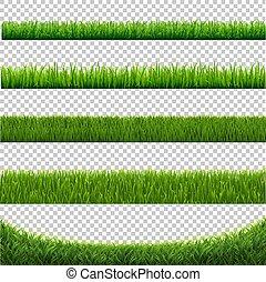 set, vrijstaand, groene achtergrond, witte , gras, grens