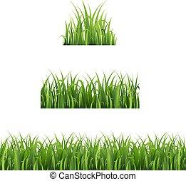 set, vrijstaand, groene achtergrond, witte , gras