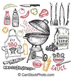 set, vrijstaand, hand, communie, barbecue, getrokken, witte