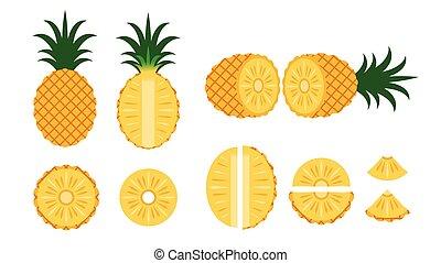 set, -, vrijstaand, illustratie, vector, achtergrond, ananas, witte