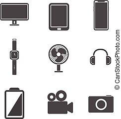 set., vrijstaand, illustratie, vector, achtergrond, witte , elektronisch, concept., pictogram