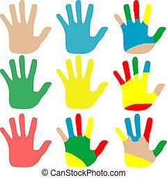 set, vrijstaand, illustratie, veelkleurig, vector, handen, witte