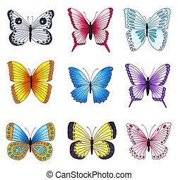 set, vrijstaand, veelkleurig, achtergrond., vlinder, witte