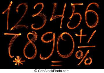 set, vuur, alfabet, verzameling, black , getallen, achtergrond