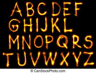 set, vuur, alfabet, zwarte achtergrond, engelse