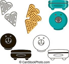 Set waffles iron. Vector illustration of kitchen appliances.