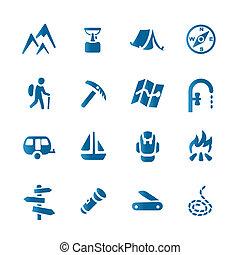 set, wandelende, iconen
