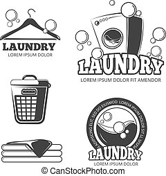 set, was, logos, ouderwetse , etiketten, vector, schoonmaken, wasserij, emblems, kentekens