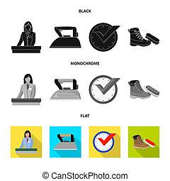 set, wasserij, illustration., kleren, voorwerp, symbool., vrijstaand, schoonmaken, bitmap, liggen