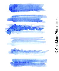 set watercolor, blue abstract