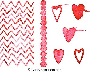 Set watercolor decoration in vector format for your design, heart, zigzag, circle