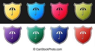 Set Waterproof icon isolated on black and white background. ...