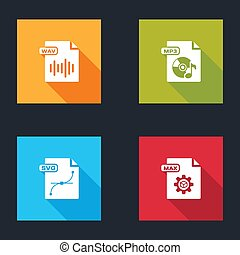 Set WAV file document, MP3, SVG and MAX icon. Vector.