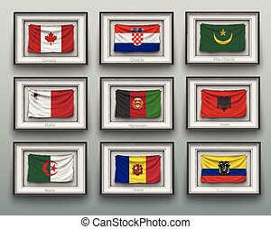 waving flags in picture frame on the wall - set waving flags...