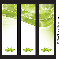 Set wavy nature banners with green leaves