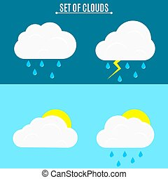Set. Weather. A simple vector illustration in a flat style. Thunderstorm and rain on a dark background. The sun and voluminous clouds on a light background.