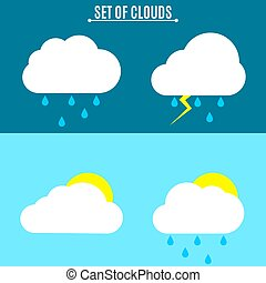 Set. Weather. A simple vector illustration in a flat style. Thunderstorm and rain on a dark background. Sun and clouds on a light background.