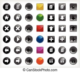 set, web, bottoni, con, icons., vettore