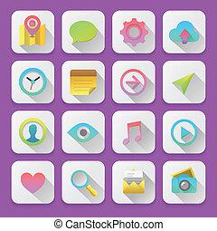 Set web icons, flat UI design trend